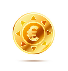 bright glossy golden coin with euro sign on white vector image vector image