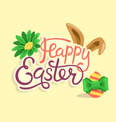 happy easter lettering with rabbit egg and flower vector image