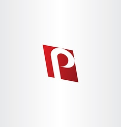logotype letter p red logo element vector image