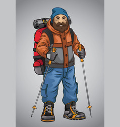 old man hiking vector image vector image
