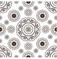 seamless pattern with floral ornament coloring vector image vector image