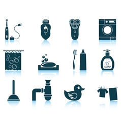 Set of bathroom icons vector image vector image