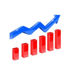 financial graph blue up rising arrow vector image