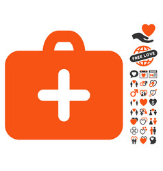 first aid case icon with love bonus vector image vector image