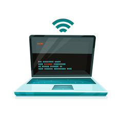 laptop icon with free wi-fi vector image
