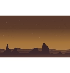 Silhouette of desert and rock scenery vector image