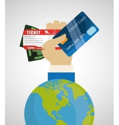 travel credit card world tourism money ticket vector image