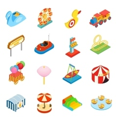 Amusement park isometric 3d icons vector image