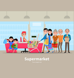 cartoon people doing shopping supermarket vector image vector image