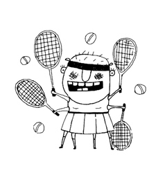 Funny freaky tennis player character monster vector image vector image