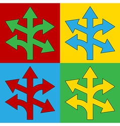 Pop art straight left and right arrow icons vector image