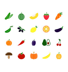 set of colored vegetable icons tomato eggplant vector image vector image