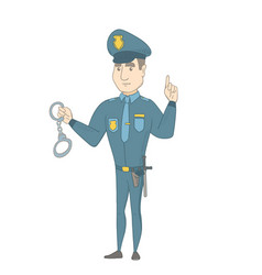 young caucasian policeman holding handcuffs vector image