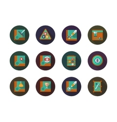 Billiard round flat color icons set vector image vector image