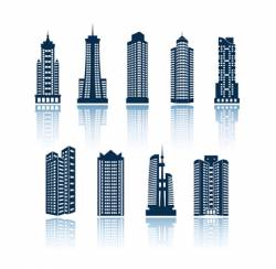 buildings silhouettes vector image vector image