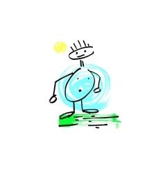 Sketch doodle human stick figure fat man vector