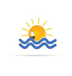 sun and sea with boat icon color vector image vector image