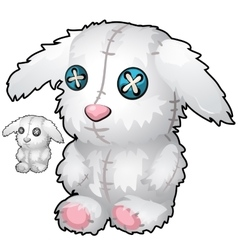 Vintage hand made soft toy white rabbit vector image vector image