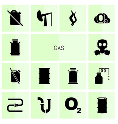 14 gas icons vector image