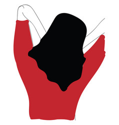 A back a girl with red shirt or color vector