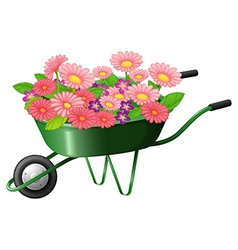 A construction cart with lots of flowers vector image