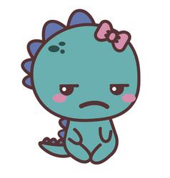a dinosaur sad girl vector image