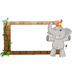 A white board an elephant and birds vector image