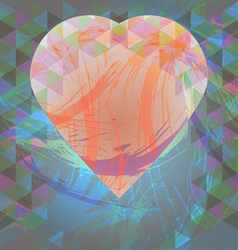 Abstract design with big heart and colored triangl vector