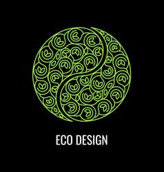 abstract natural linear logo green symbol yin vector image