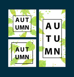 autumn banners set with watercolor leaves vector image