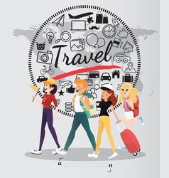 Backpacking people with travel icons on world map vector