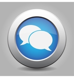blue metal button with speech bubbles vector image