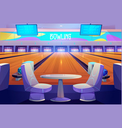 Bowling club interior tables and playing alleys vector