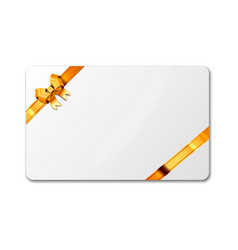 Bright white blank gift card template with golden vector