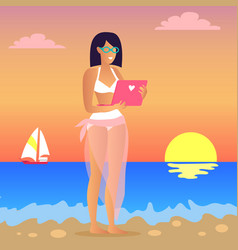 Business trip woman and laptop vector