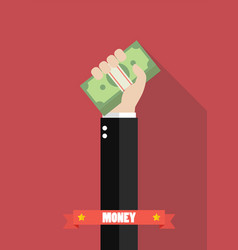 Businessman holding money vector