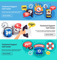 Call center 3 horizontal banners vector