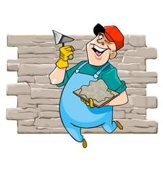 cartoon cheerful male worker with tool vector image