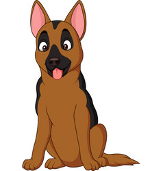 Cartoon german shepherd dog isolated on white back vector