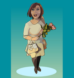 Cartoon surprised happy woman with flowers vector