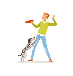 Cheerful red-haired man playing with his dog guy vector