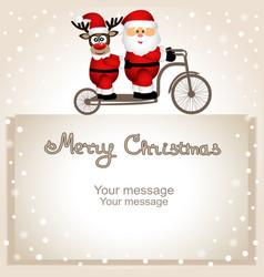 Christmas card santa claus and christmas reindeer vector