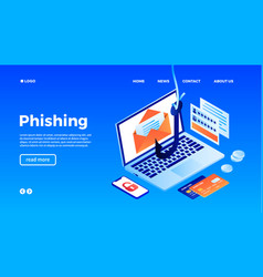 computer phishing concept background isometric vector image