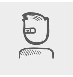 Computer web camera sketch icon vector image