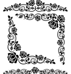Corners with roses decoration vector