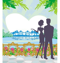 couple on tropical vector image