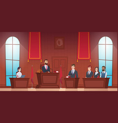 Court room judge in courtroom police officer vector