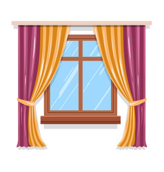Curtains on window isolated icon blinds or vector