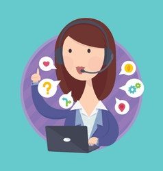 Customer support help desk operator service vector image