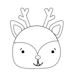 Dotted shape happy deer head wild animal vector